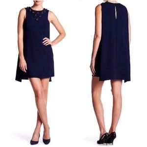 Trina Turk Sedona Embellished with Back Cape Dress